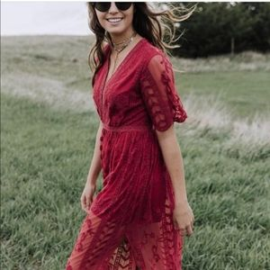 Red lace romper size small